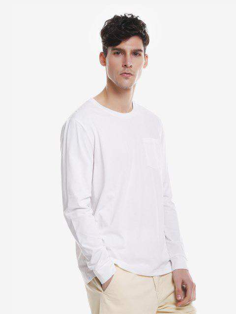 ZANSTYLE Camiseta Manga Larga con Cuello Redondo para Mujer - Blanco L Mobile