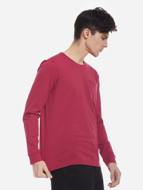 ZANSTYLE Camiseta Manga Larga con Cuello Redondo para Mujer - Vino Rojo M Mobile