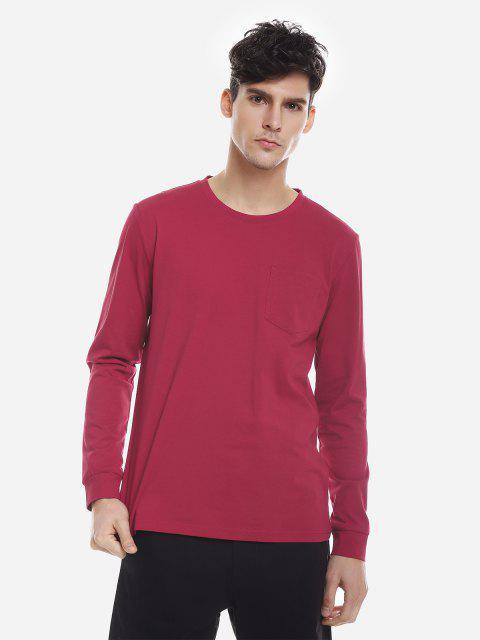 ZANSTYLE Camiseta Manga Larga con Cuello Redondo para Mujer - Vino Rojo L Mobile