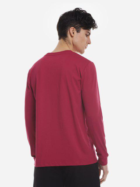women ZAN.STYLE Crew Neck Long Sleeve T Shirt - WINE RED 2XL Mobile