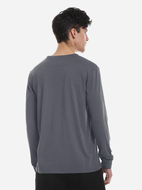 ZAN.STYLE Crew Neck Long Sleeve T Shirt - 木炭灰 2XL Mobile