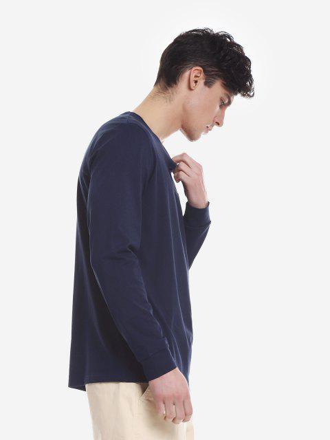 ZANSTYLE Camiseta Manga Larga con Cuello Redondo para Mujer - Azul Purpúreo L Mobile