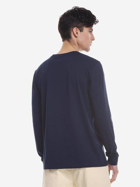 ZAN.STYLE Crew Neck Long Sleeve T Shirt - 紫色藍色 XL Mobile