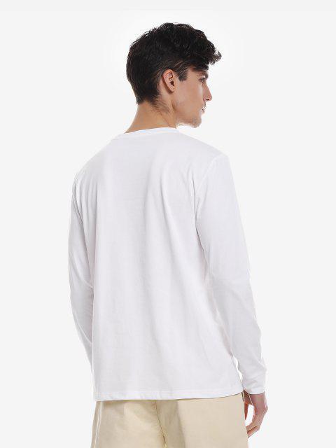 ZANSTYLE Camiseta Manga Larga con Cuello Redondo para Mujer - Blanco XL Mobile
