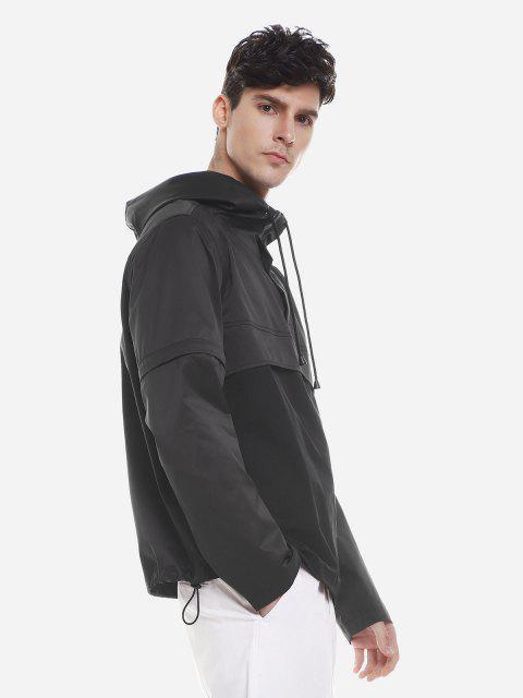 ZAN.STYLE Spliced Windbreaker Jacket - 黑色 XL Mobile