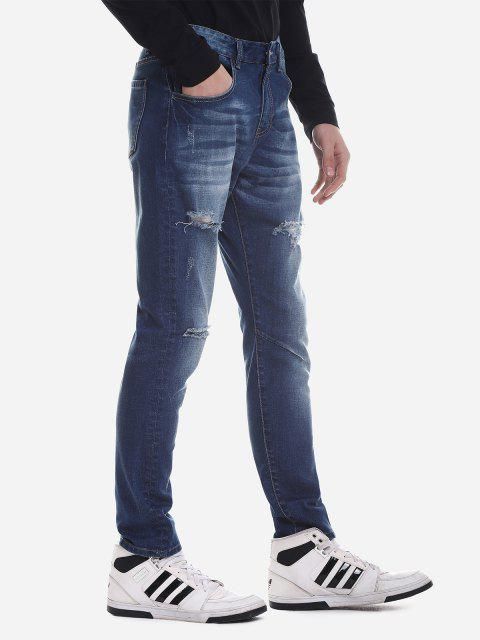 latest ZAN.STYLE Ripped Faded Skinny Jeans - BLUE 40 Mobile