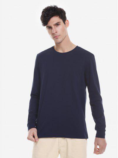 ZAN.STYLE Crew Neck Long Sleeve T Shirt - Purplish Blue 2xl
