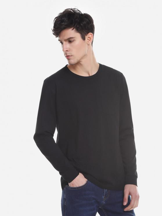 unique ZAN.STYLE Crew Neck Long Sleeve T Shirt - BLACK L