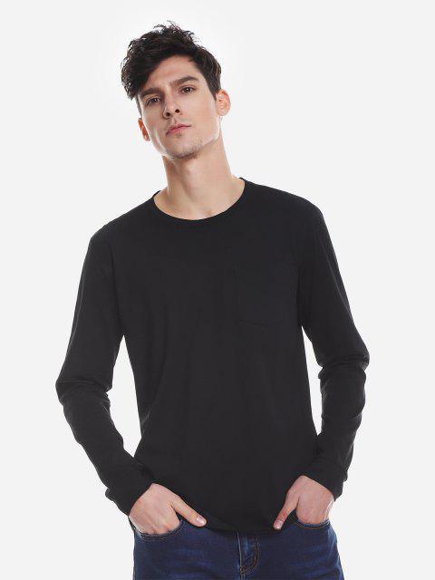 ZANSTYLE Camiseta Manga Larga con Cuello Redondo para Mujer - Negro L Mobile