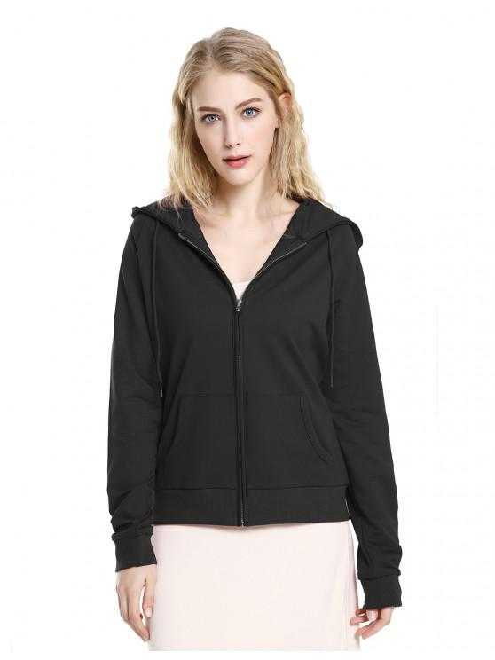 hot ZAN.STYLE Full Zip Fleece Hoodie - BLACK S