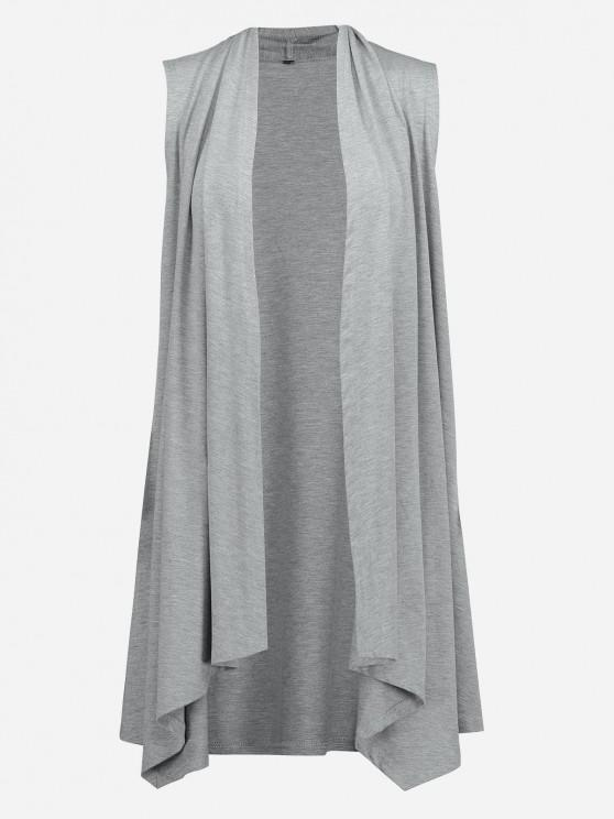womens ZAN.STYLE Sleeveless Open Front Vest - LIGHT GRAY S