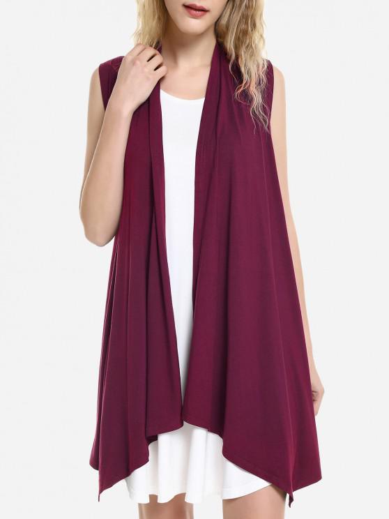 women's ZAN.STYLE Sleeveless Open Front Vest - DEEP RED S