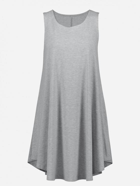women ZAN.STYLE Sleeveless Swing Tunic Dress Tank Top - LIGHT GRAY S