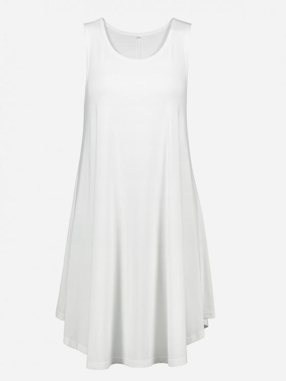 Robe Débardeur Trapèze Tunique sans Manches - Blanc Lait XL