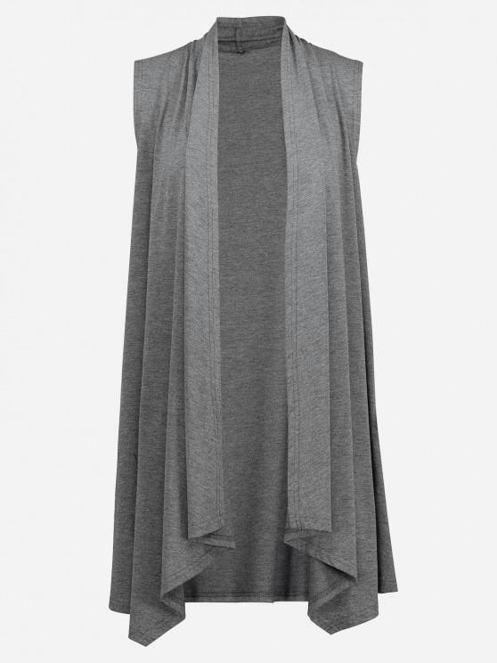 affordable ZAN.STYLE Sleeveless Open Front Vest - DEEP GRAY S