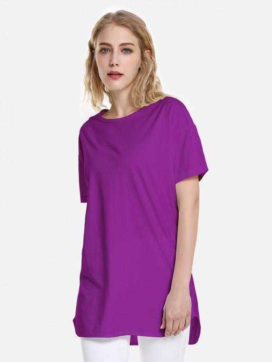 T-shirtà Ourlet Incurvé - Violet L