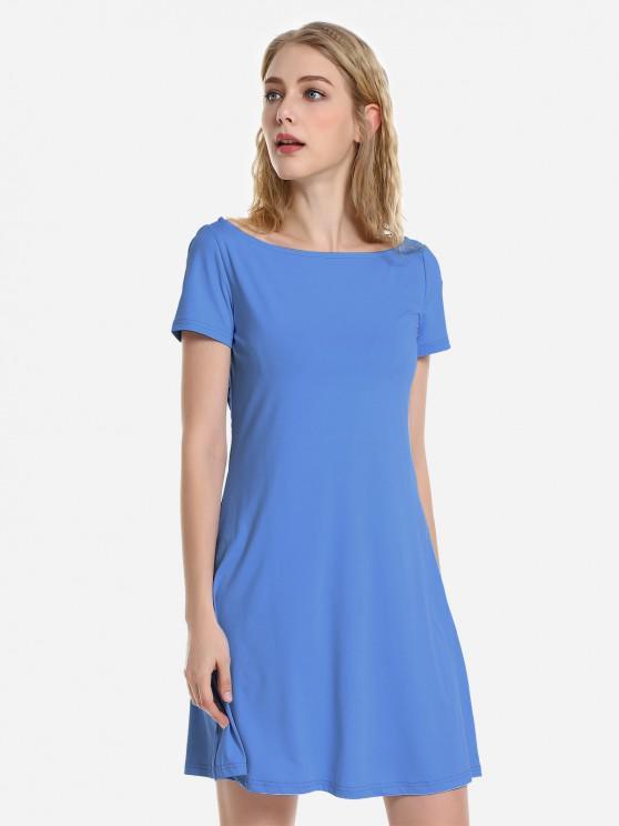 ZAN.STYLE Dolman T-Shirt Dress - أزرق L