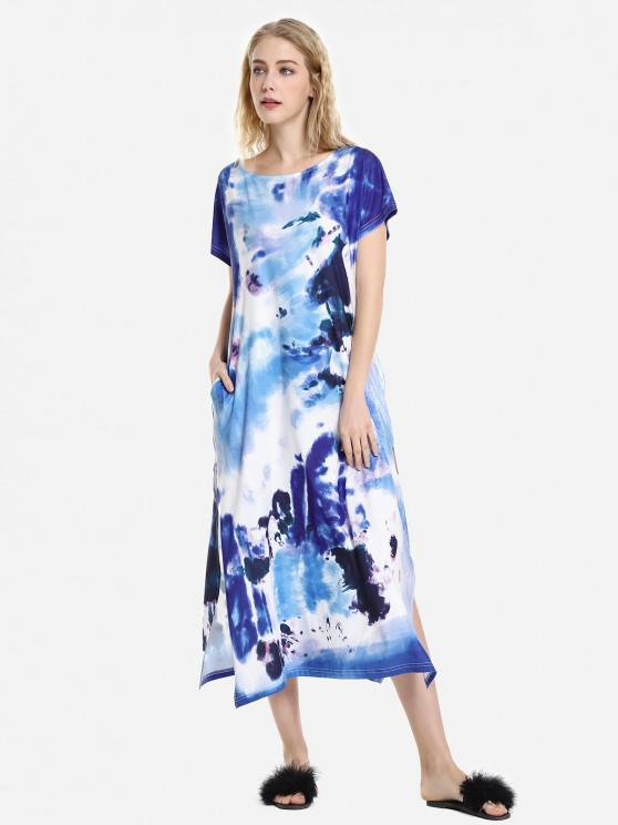 ZAN.STYLE Batwing Sleeve Dress - أزرق XL