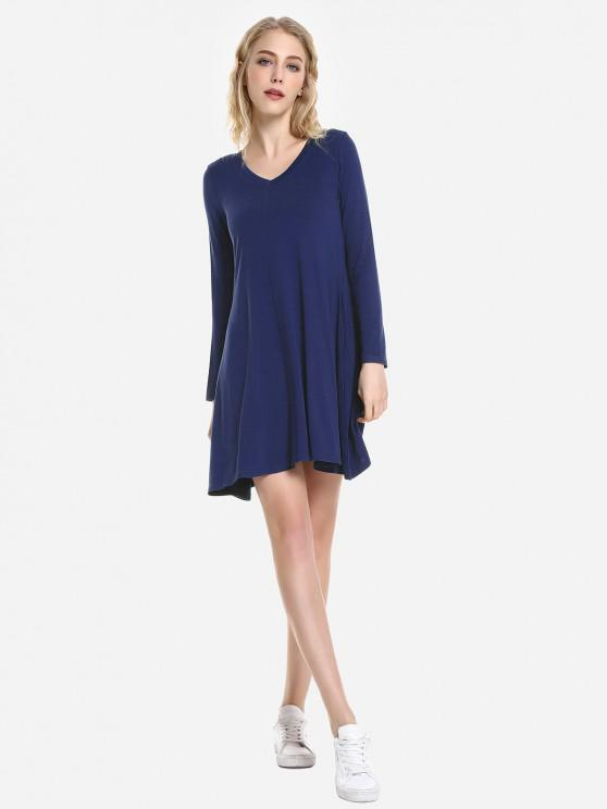 sale ZAN.STYLE V Neck Dress - CERULEAN XL