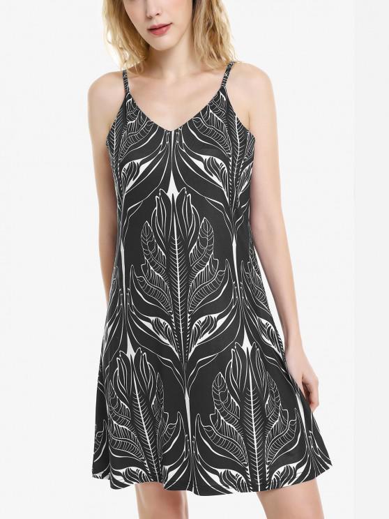 women's ZAN.STYLE V Neck Causal Slip Dress - BLACK XL