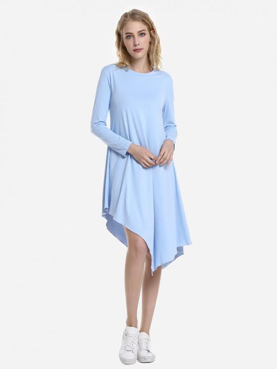 ZAN.STYLE Long Sleeve Dress - وندسور الأزرق M