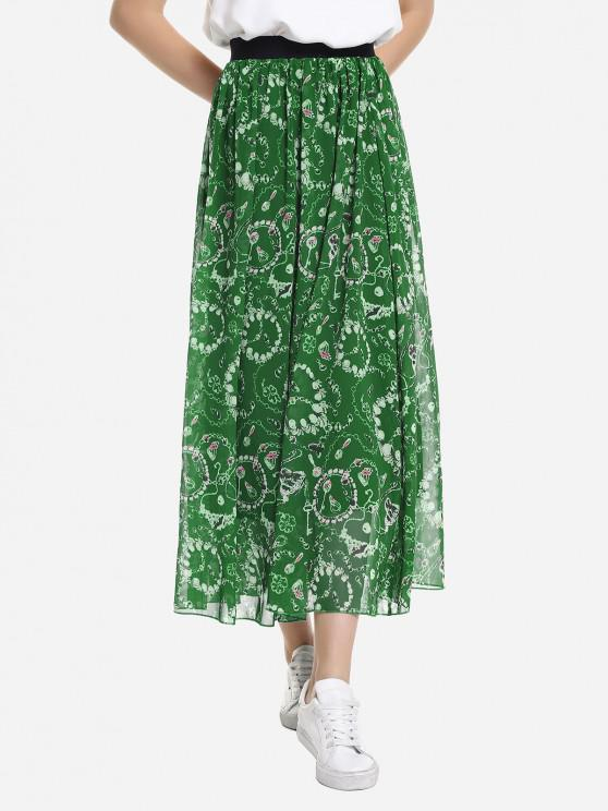 ZAN.STYLE Wide Waistband Maxi Skirt - أخضر M