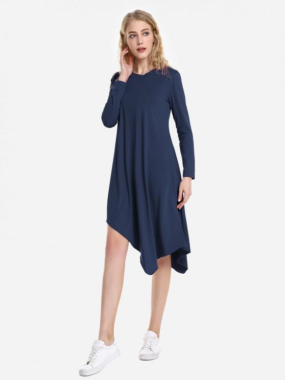 ZANSTYLE Vestito a Maniche Lunghe - Blu Violaceo S