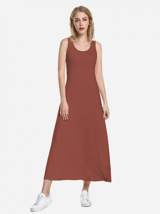 ZAN.STYLE Round Neck Vest Dress - قرميد احمر M