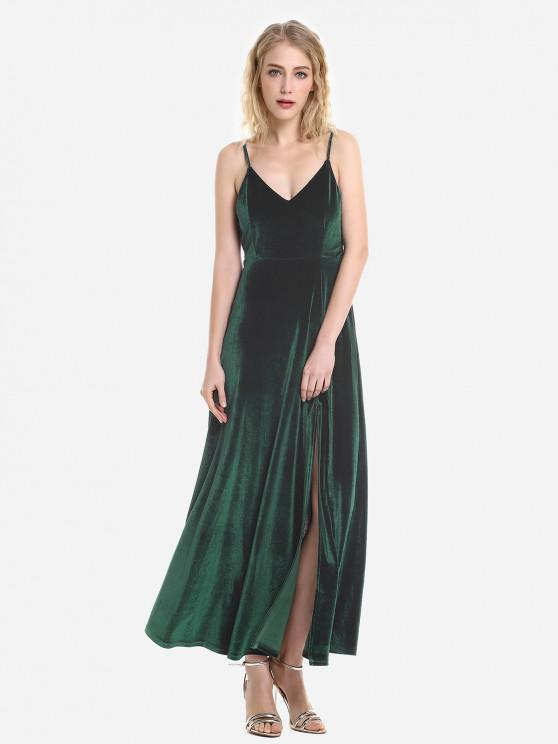 ZAN.STYLE Velvet Adjustable Strip Slip Dress - مسود الخضراء L