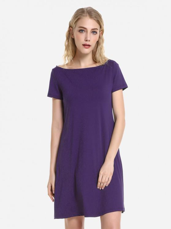 ZAN.STYLE Dolman T-Shirt Dress - 深紫色 S