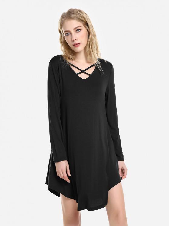 ZAN.STYLE Robe de Balançoire - Noir L