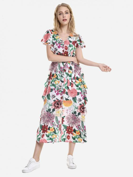 outfits ZAN.STYLE V Neck Ruffle Sleeve Dress - WHITE XL