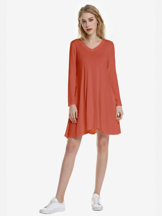 ZAN.STYLE V Neck Dress - قرميد احمر S