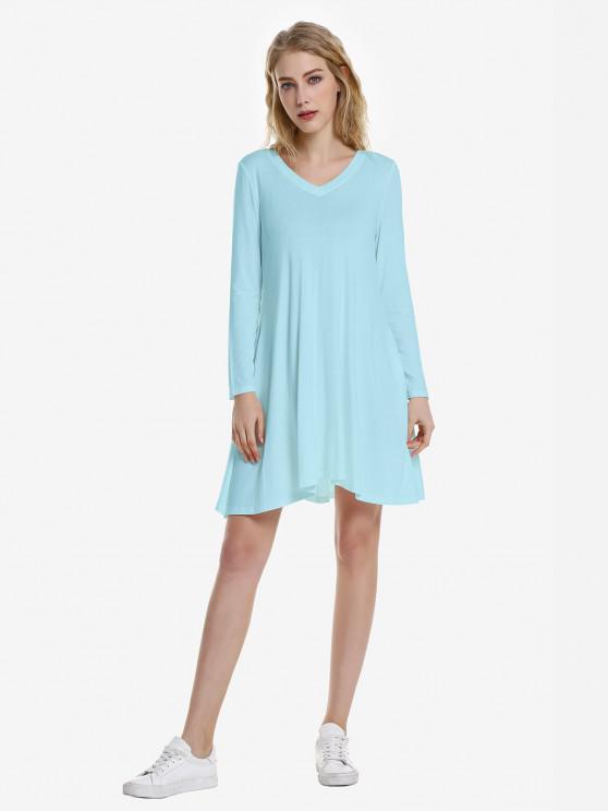 trendy ZAN.STYLE V Neck Dress - WINDSOR BLUE M