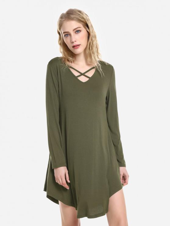 ZAN.STYLE Swing Dress - الجيش الأخضر M
