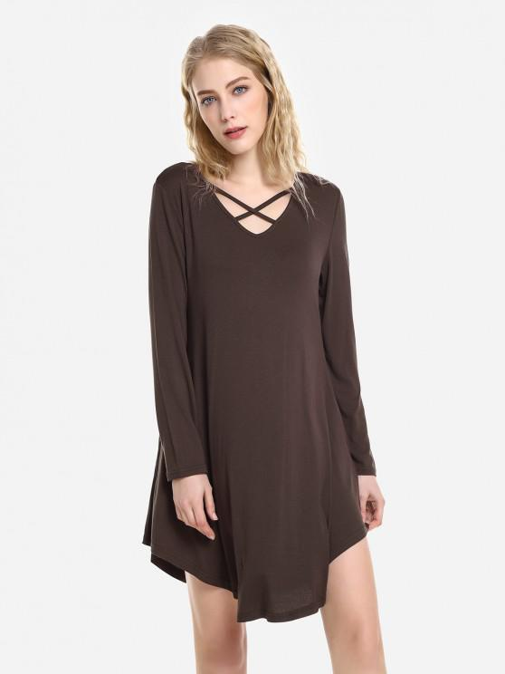 ZAN.STYLE Swing Dress - 熱奶咖啡 XL