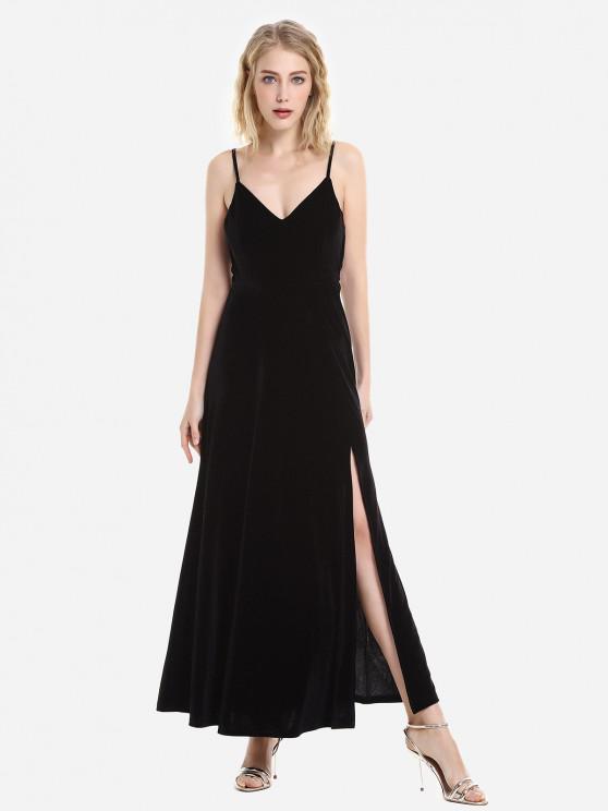 ZAN.STYLE Velvet Dress slittamento Striscia regolabile - Nero L