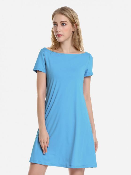 unique ZAN.STYLE Dolman T-Shirt Dress - LAKE BLUE M