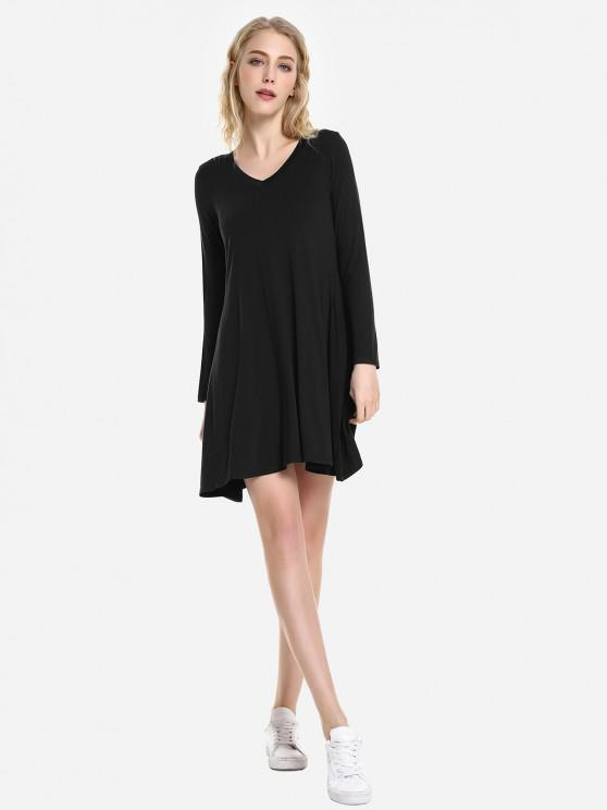 ladies ZAN.STYLE V Neck Dress - BLACK S