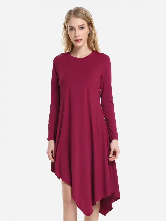 ZAN.STYLE Long Sleeve Dress - نبيذ أحمر L