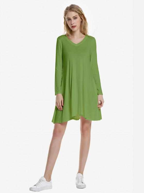 ZAN.STYLE V Neck Dress - أخضر زيتوني S