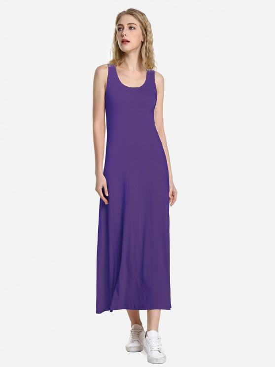 ZAN.STYLE Round Neck Vest Dress - أرجواني S