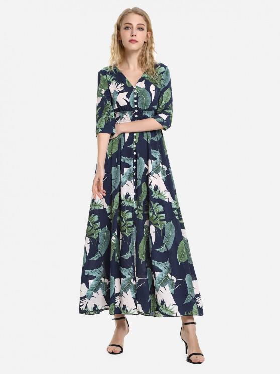 ZAN.STYLE demi-manches imprimé floral V Neck Dress - Bleu et Vert L