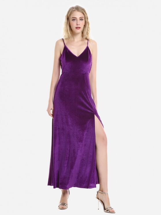 ZAN.STYLE Velvet Dress slittamento Striscia regolabile - Viola M