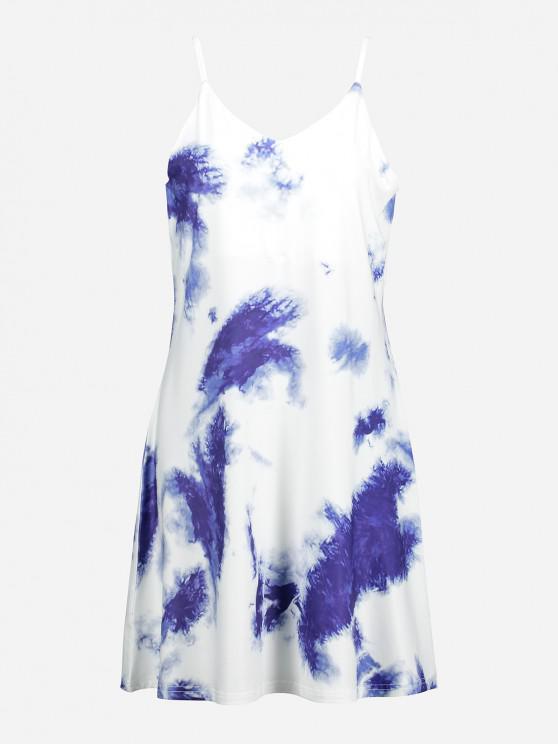 ZAN.STYLE V Neck Causal Slip Dress - أزرق XL