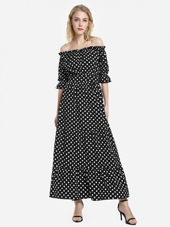 outfit ZAN.STYLE Elasticized Waistband Off the Shoulder Dress - BLACK AND WHITE XL