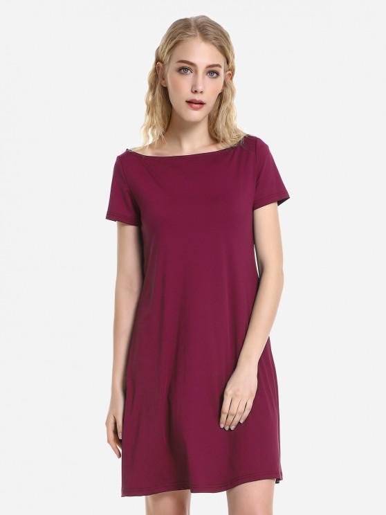ZANSTYLE Dolman Gonna di T-Shirt - Rosso Scuro M