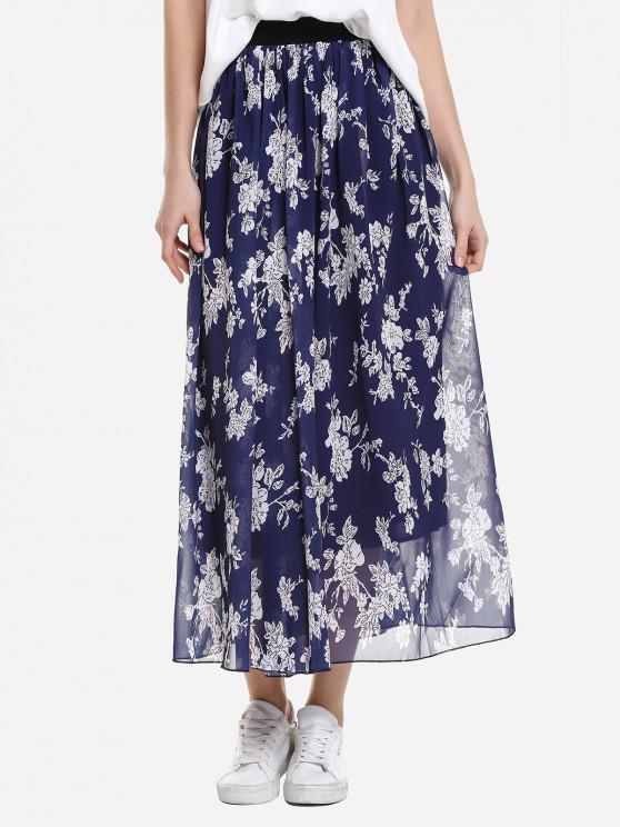 ZAN.STYLE Wide Waistband Maxi Skirt - أزرق L