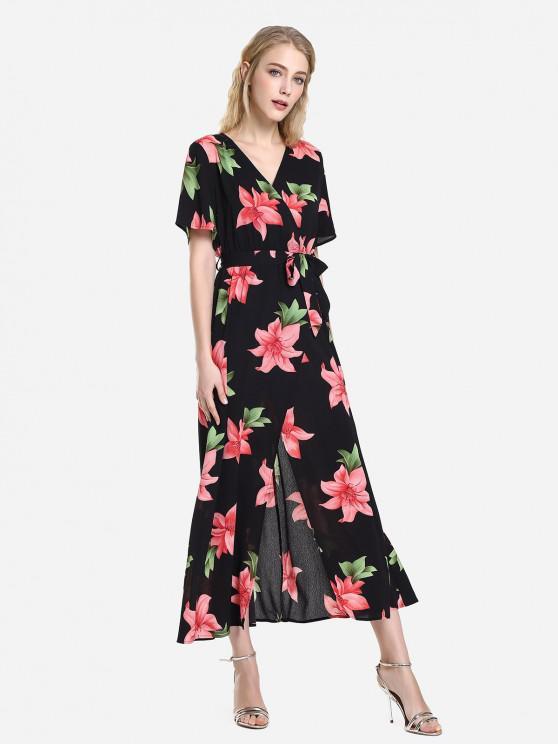 ZAN.STYLE Short Sleeve Floral Print Surplice Dress - черный и красный S