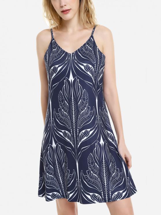 affordable ZAN.STYLE V Neck Causal Slip Dress - ROYAL XL
